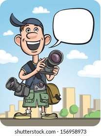 Vector illustration of Funny Photographer Speaking. Easy-edit layered vector EPS10 file scalable to any size without quality loss. High resolution raster JPG file is included.