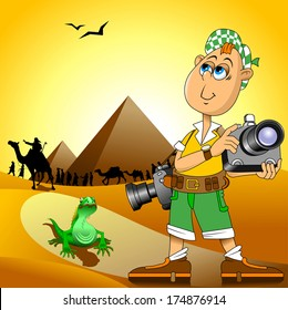 Vector illustration of funny photographer speaking, vector and illustration
