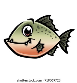 Vector illustration of a funny piranha for design element