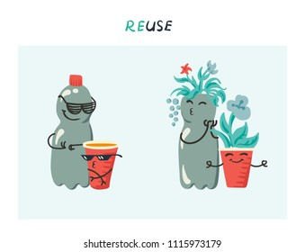 Vector illustration of funny plastic bottle and red plastic cup being reused as plant pots in home garden - recycle concept characters