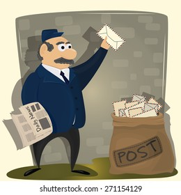 Vector Illustration of funny Postman with newspaper and sack of letters