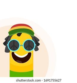 Vector illustration of funny rasta reggae cartoon character