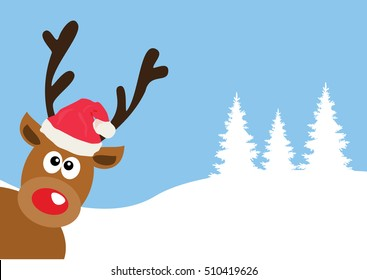 vector illustration of a funny red nose reindeer Christmas background