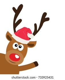 vector illustration of a funny reindeer in Santa hat waiving.