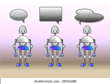 Vector Illustration of funny robots decorated with comics bubbles