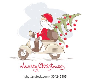 Vector illustration - funny Santa on a scooter