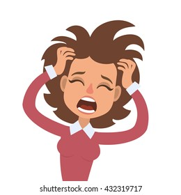 Vector illustration of funny screaming brunette woman with her hands on head and wide opened mouth