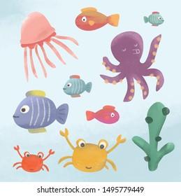 Vector Illustration Funny Sea Animal