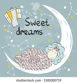 Vector illustration with funny sheep and moon. Sweet dreams.