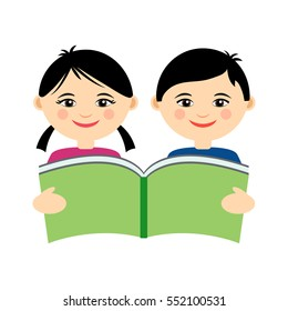 Vector illustration of funny smiling asian girl and boy reading book. Logo design template for kids education class. Modern flat cartoon style illustration of education for asian kids. Vector EPS 10