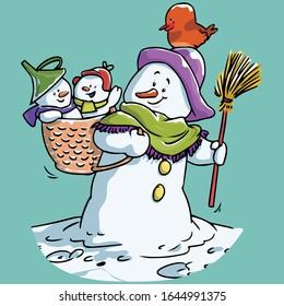 Vector illustration, funny snowman, cartoon concept.
