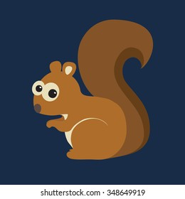 Vector illustration of funny squirrel on blue background