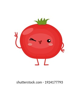 vector illustration with funny tomato, various character emotions. cute vegetables icon. cartoon flat style. stickers