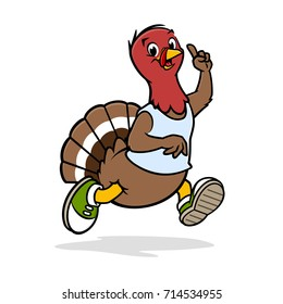 Vector illustration of a funny turkey running
