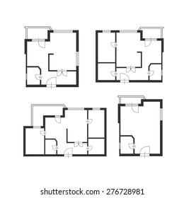 Vector illustration. Furniture architect plan of building set. Flat Design