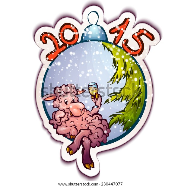 Vector illustration of fur-tree toy with funny sheep.