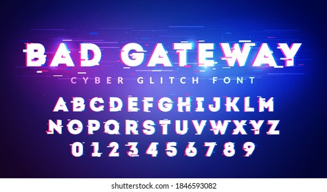 Vector Illustration Future Glitch Cyber Font. High Technology Typography.