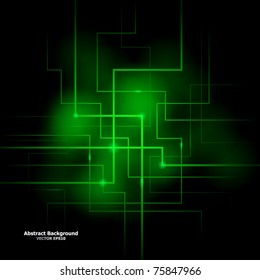 Vector illustration of futuristic green abstract glowing background