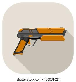 Vector illustration of Futuristic laser gun flat Icon. Hi-Tech Laser Pistol.