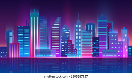 Vector illustration of futuristic megapolis cityscape. Night city with glowing neon lights. Futuristic night city concept, banner, digital background.