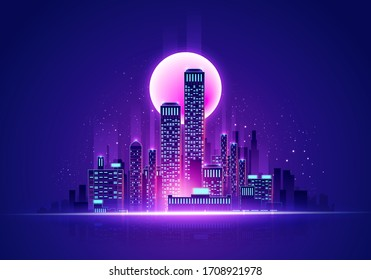 Vector Illustration Futuristic Neon Glow Skyline. Cyber Cityscape In Retro Colors