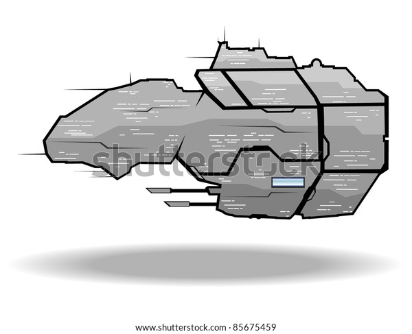 vector illustration of futuristic spaceship.vector 4