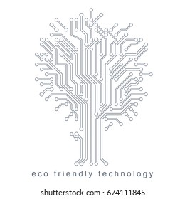 Vector illustration of futuristic tree, technology and science conceptual design. Recycling and reuse concept.