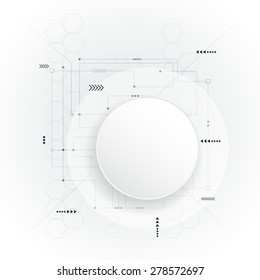 Vector illustration  futuristic.Minimal  Abstract 3d white paper circle on circuit board .Blank circle for your design.Light grey hi-tech circuit board background