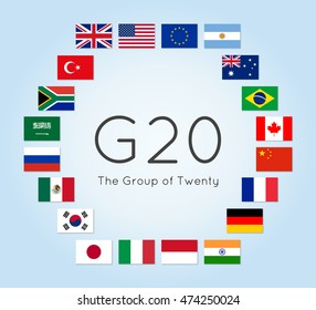 Vector illustration of G-20 countries flags. The Group of Twenty, the World's Leading 20 Economies. Banner for Summit G20, financial and economic international forum. Infographic design image