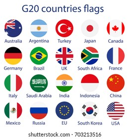 Vector illustration of G-20 countries flags. The Group of Twenty, the World's Leading 20 Economies. Banner for Summit G20, financial ann economic international forum. Infographic design