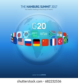 Vector illustration of G20 Summit with flags around world