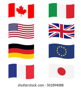 Vector illustration g8 countries flags. Canada, Germany, France, Japan, United Kingdom of Great Britain, EU, Italy and United States