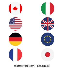 Vector illustration g8 countries round flags. Canada, Germany, France, Japan, United Kingdom of Great Britain, EU, Italy and United States. Icon flat design