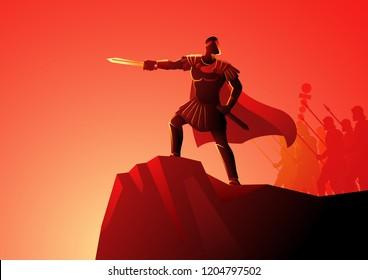 Vector illustration of Gaius Julius Caesar standing on rock commanding his army
