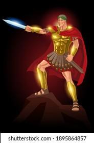 Vector illustration of Gaius Julius Caesar standing on rock with his gladius