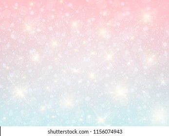 Vector illustration of galaxy fantasy background and pastel color. Pastel clouds and sky with bokeh . Cute bright romantic background. Eps10 vector.