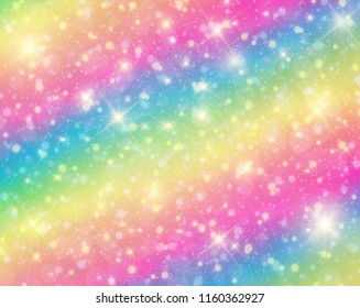 Vector illustration of galaxy fantasy background and pastel color. The unicorn in pastel sky with rainbow.