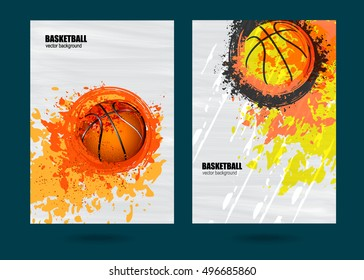 Vector illustration for a game of basketball. Set sports posters. The effect of the old banner. Grunge background. Fiery basketball. Spray and scratches. EPS file is layered.