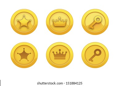 Vector Illustration with game computer icons for applications: gold medal, award, star, crown, key. Achievements.