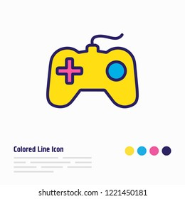 Vector illustration of game console icon colored line. Beautiful lifestyle element also can be used as joystick icon element.