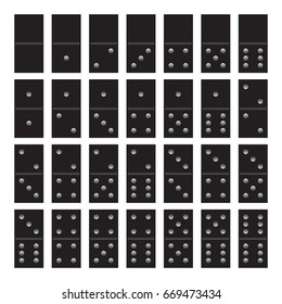 Vector illustration of a game of dominoes in black