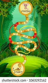 vector illustration of Game template with snake and mouse in forest background