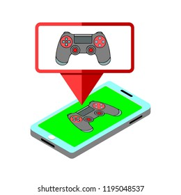 Vector illustration of gamification concept. Smartphone, Joypad, joystick  isolated on white background
