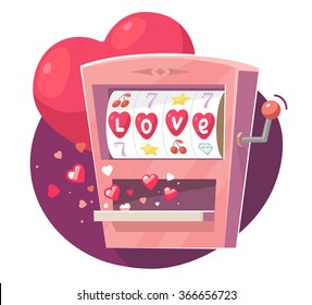 Vector illustration of gaming machine with red hearts on purple  background. Hand draw art design for Valentine's Day greetings and card, web, banner, poster, flyer, brochure, print.