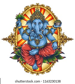 vector illustration of ganesha elephant symbol of gods religion hinduism