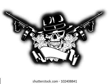 Vector illustration gangster, roses, submachine gun and banner