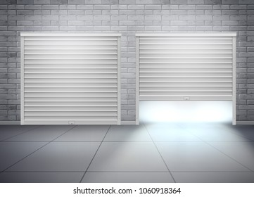 Vector illustration of garage with two entrances  and open shutter in grey brick wall. Realistic composition with opening door