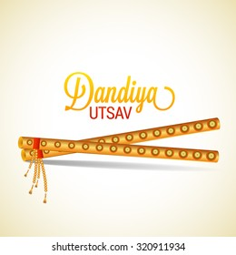 Vector Illustration of Garba Dancing Sticks with Happy Navratri text with effects for Navratri