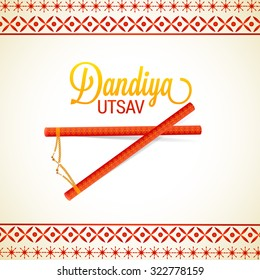 Vector Illustration of Garba Dancing Sticks with Happy Navratri text with effects for Navratri.