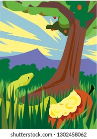 vector illustration of the garden of Eden. Depicts the forbidden fruit, the tree of knowledge and the serpent with an emphasis on the lost paradise